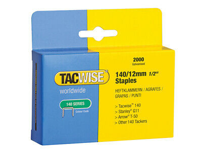 Tacwise 140 Heavy-Duty Staples 12mm (Type T50, G) Pack 2000 TAC0348