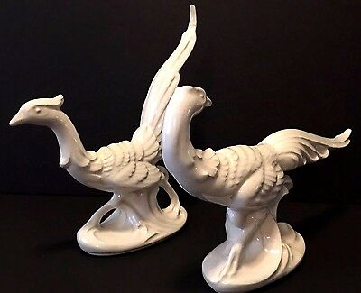 Vintage Pair White Porcelain Pheasants Male and Female Figurines