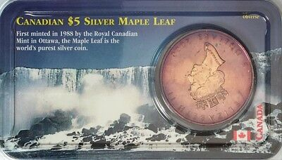Toned 2000 $5 SILVER CANADIAN MAPLE LEAF 1 oz Fine SILVER .999 PURE (LITTLETON)