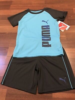NWT Puma 2 Piece Boys Shirt/ Short Dri-Fit Athletic Set -Blue /Black Boys Size 5