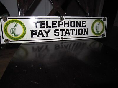 Old Lincoln Telephone Pay Station Porcelain Sign