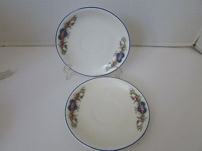 W.s. George Derwood #156A Set Of Two Saucers Blue Rimmed