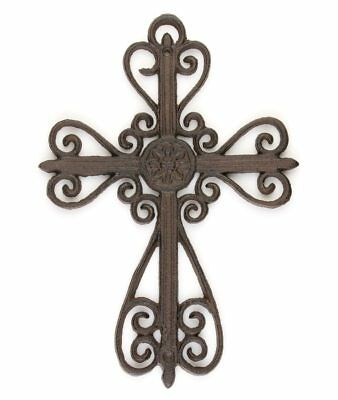 Ornate hanging Scroll Wall Cross cast iron vintage antique style décor