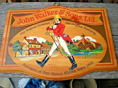 "John Walker & Sons, Ltd. Authentic Scotch Whiskey Wooden Pub/Wall Sign 18"" x 13"""