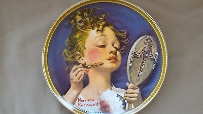 "Edwin M Knowles Collector Plate Norman Rockwell's ""Making Believe at the Mirror"""