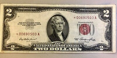 1953 United States Note $2 STAR NOTE Fr#1509* RED SEAL SN 00690503A