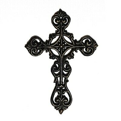 Ornate hanging Cross with gold highlight cast iron vintage antique style décor