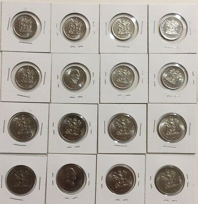 South Africa gem coins from mint sets - 8 x 20 cent & 8 x 50 cent 1970 - 1978