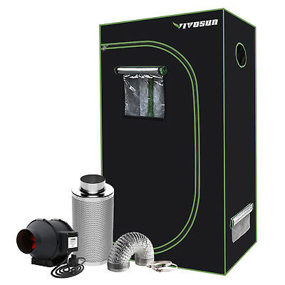 "VIVOSUN 2' x 3' Grow Tent Kit w/ 4"" 6"" Inline Duct Fan Air Carbon Filter Ducting"
