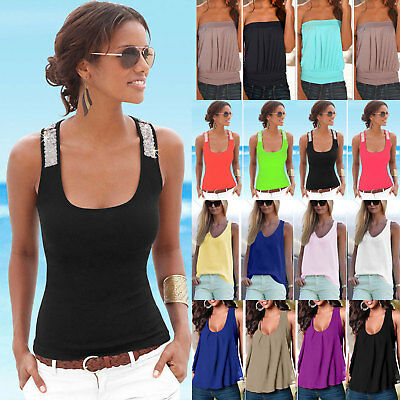 Womens Sleeveless Sequin Vest Tops Summer Casual Blouse Tank Shirt Plain Beach