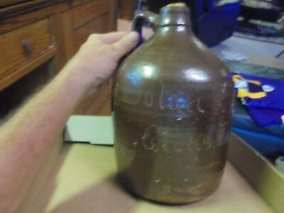 Vintage Advertising Dolan & Bellen, Glens Falls New York Brown Stoneware Jug