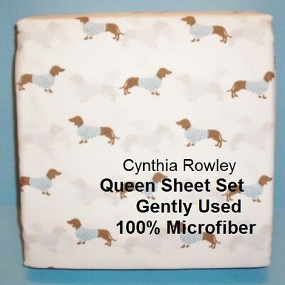 Used 4pc Cynthia Rowley Dachshund in Sweaters Queen Sheet Set