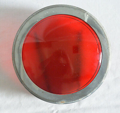 Traffic Or Railroad? Red Kopp Glass Signal Light Lens With Metal Bezel & Bracket
