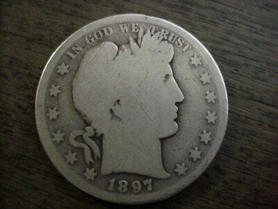 1897-S Us Barber Silver Half Dollar Better Key Date Ag Free Shipping Usa Nr!!