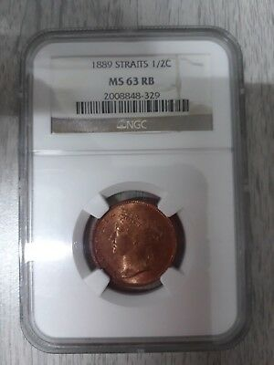 1889 Straits Settlements 1/2 Cent - Ngc  Ms 63Rb