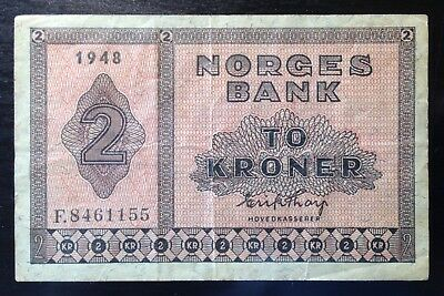 Norway, Norges Bank, 2 Kroner, 1948, P-16b, VF-