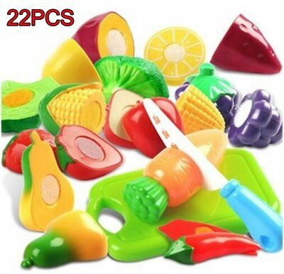 22PCS Child Role Play Toys Plastic Cutting Fruits and Vegetables Set  US HM