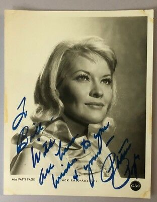 PATTI PAGE vintage signed & inscribed 8x10