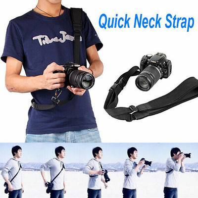 Cameras Quick Shoulder Strap Neck Sling For Digital SLR DSLR Universal Black
