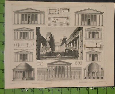 Antique Ancient Roman Architecture 1849 Bilder Atlas Engraving -  12x9