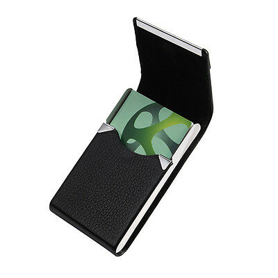Stainless Steel Pocket Name Credit ID Business Card Holder Box leather Case