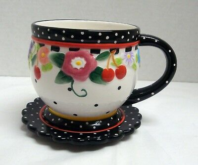 2000 Mary Engelbreit Cup & Saucer Black White Colorful Flower Red Cherry Oh So B
