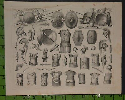 Antique Weapons Armor 1849 Bilder Atlas Engraving -  12x9
