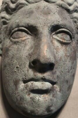 Apollo Distressed Greek Roman Mask Gilded Copper Bronze Plaque Gothic Oddity
