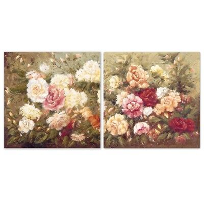 2Pcs Flower Art Oil Painting Canvas Print Wall Pictures Home Room Decor Unframed