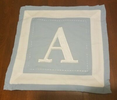 """Letter """"A"""" Monogramed Baby Blue White Pillow Case"""