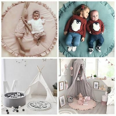100cm Round Crawling Carpet Soft Cotton Baby Play Mats Round Lace Blanket