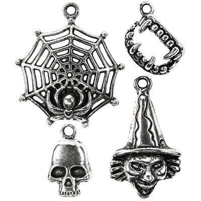 'Tis The Season ~ Halloween ~ METAL CHARMS Spider Web Dracula Teeth Skull Witch