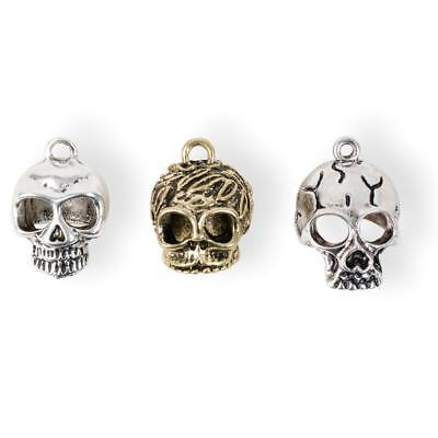Solid Oak INC Steampunk ~ Hanging Skulls ~ METAL CHARMS Accents 3 in pack