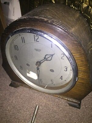 ANTIQUE 1950s SMITHS ENFIELD WOOD STRIKING CLOCK WITH  KEY Pendulum