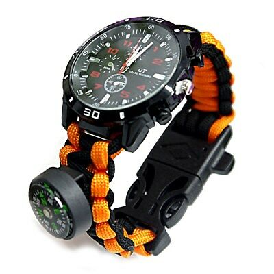 AU Survival Watch Bracelet Compass Flint Paracord Thermometer Whistle Outdoor