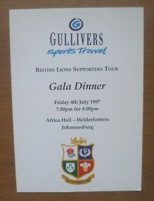British Lions Supporters Tour Gala Dinner Menu, 04/07/1997 (Day before 3rd Test)