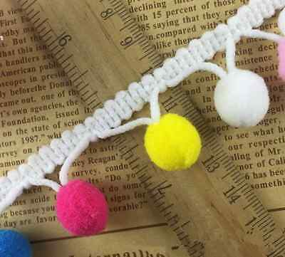 2Y Pom Pom Applique Fringe Trimming Ribbon Colorful Ball Decorated Lace Trim