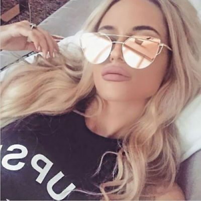 Women Lady Girl Fashion Sunglasses Rose Gold Curved Lens Metal Frame