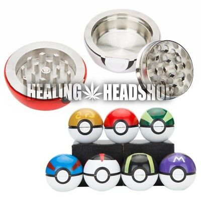 "Pokemon Pokeball 3 pc Herb Spice Grinder Mill Tobacco Aluminum 40mm 1.5"" Cosplay"