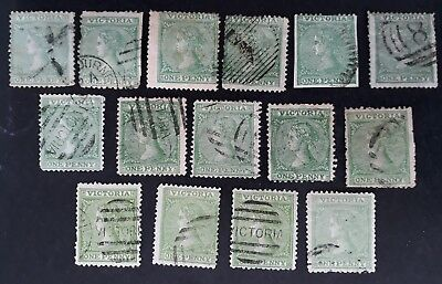 Rare 1864- Victoria Australia 14 x 1d green (Shades) Laureate Stamps Used