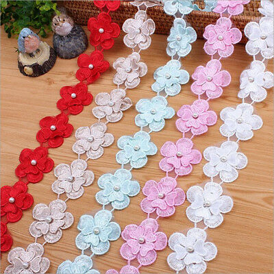DIY 1Y Double layer Organza Flowers Lace handmade Trim clothing decoration
