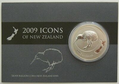 Neuseeland 2009 Kiwi Icons of New Zealand Map 1oz Silbermünze Blister/Coin Card