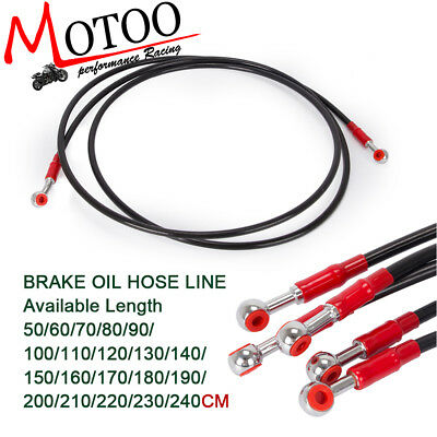 Motorcycle Banjo 28° 10mm Hydraulic Braided Brake Oil Hose Line Tube 50CM-240CM