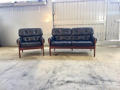 Mid Century Retro  Danish Black Leather 2 Seater Sofa And Chair.