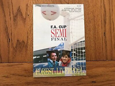 Nottingham Forest v Liverpool programme fa cup semi final 9-4-1988
