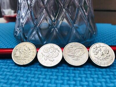 Rare old £1 One Pound Coin Floral Emblems full set 2013 - 2014