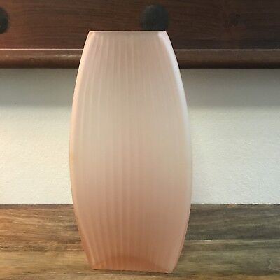 Vintage Pink Frosted Art Deco Glass Vase Unique Shape Ribbed Collectable