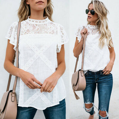 Fashion Women's Ladies Summer Short Sleeve Shirt Loose Casual Blouse Top T-Shirt