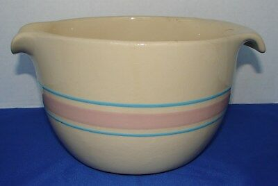 Vintage Mccoy Pottery Pink Blue Stripe Batter Bowl 2 Qt # 129 Usa