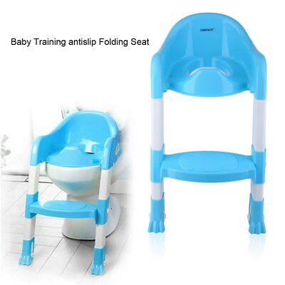 Trainer Toilet Potty Seat Chair Kids Toddler w/ Ladder Step Up Training Stool WX